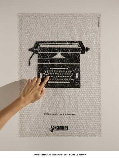 梱包材の「ぷちぷち」がそのままタイプライターの音に。