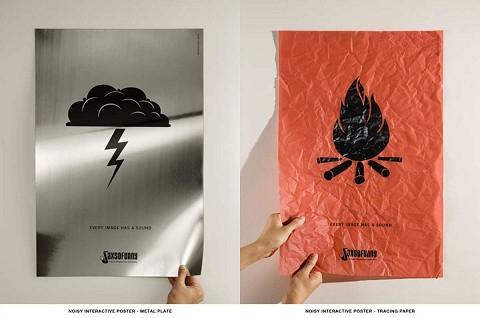 薄いアルミ(左)とトレーシングペーパー(右)。それぞれ雷と炎をイメージする音が頭に浮かぶ