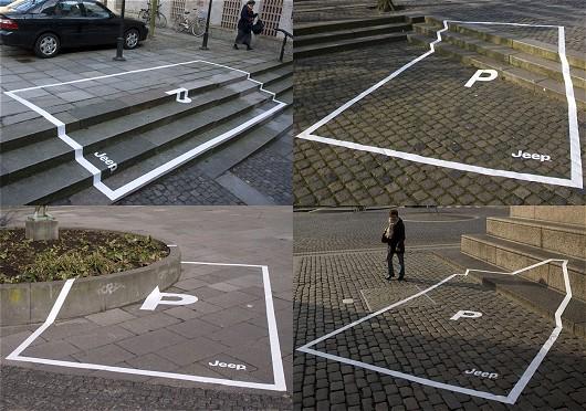 「ちょっと無茶そうに見える場所でも平気で駐車できますよ」なJeepの広告。