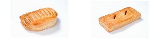 ハンバーグパイ(左)とカレーフランクパイ(右)