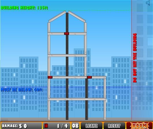 さらに面が進むと、右側の「DO NOT HIT THE BUILDING」(このビルにガレキが届かないように)エリアも登場する。