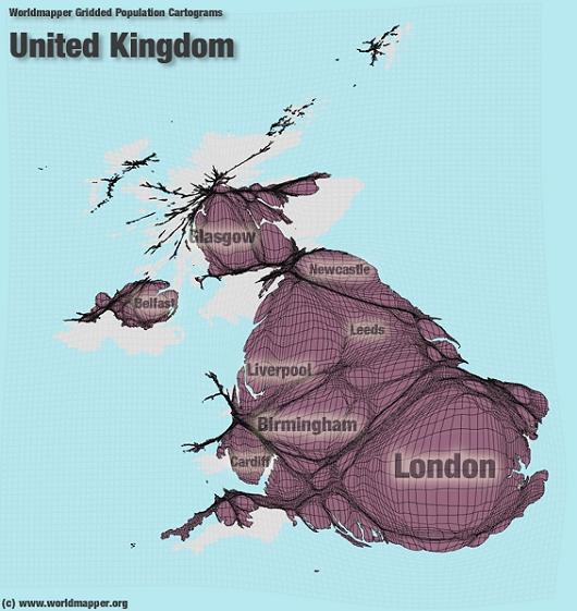 上から日本、中国、ロシア、イギリスの地図