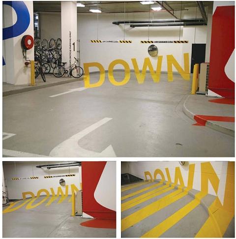 バラバラのパーツが視点によって一つの文字や絵に見えるという点では、この「DOWN」の方が分かりやすい