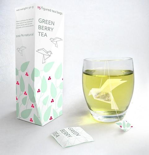 鳥の形をした緑茶のティーパック「Origami Tea」