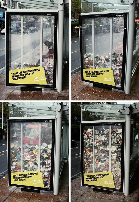 バス停側面に毎日積み重ねられていく、周辺のゴミたち。毎日利用する人の心境やいかに