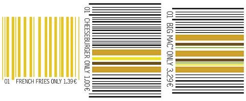 ↑ 左からフライドポテト・チーズバーガー・ビッグマックのバーコード広告。実際にはそれぞれ白地の中央に、小さくプリントされている。