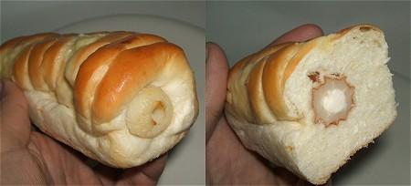 ちくわが入っている証を確認し、中を切ってチーズクリームがぎっしりと詰まっているところをチェック