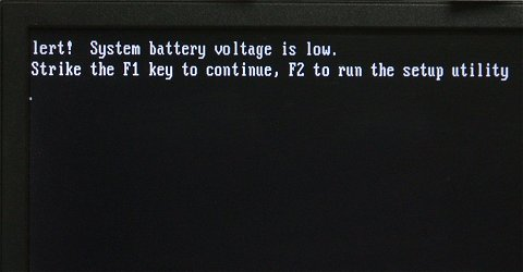 Alert! System battery voltage is low.