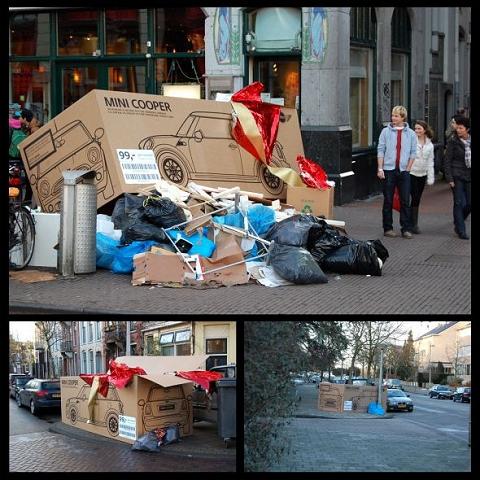 ↑ 単なる空き箱、ゴミにも関わらず注目を集めるミニクーパーの「空き箱」。