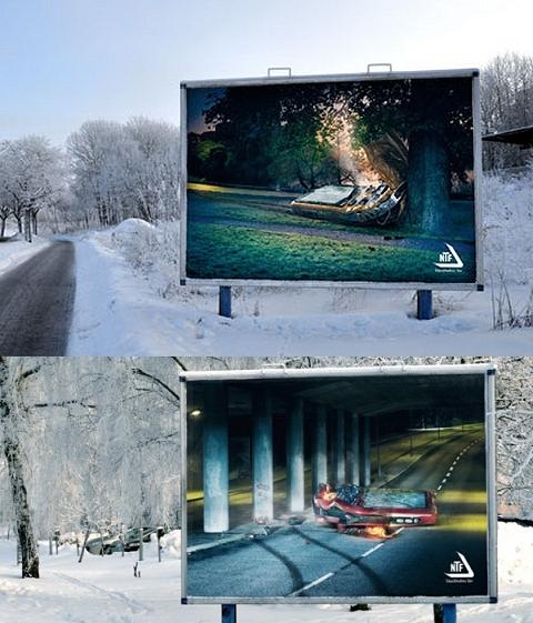 ↑ NTFの「運転中はケータイを使わないようにしよう」キャンペーンの看板