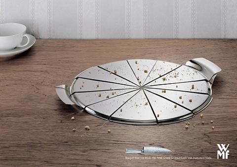 ↑ ピザプレート。上に乗せていたピザを切ったら下のプレートまで。良く見ると、さらにその下のテーブルにまで深い溝が入っているのが分かる。