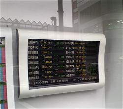 都内某所の証券会社による株価ボードイメージ