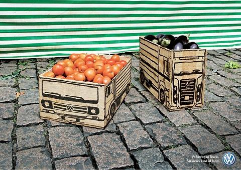 ↑ フォルクスワーゲン・トラックの「どんな荷物でも運びますよ-」な広告。
