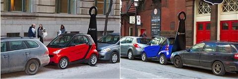 ↑ 赤や青のSmartも。街行く人も「何か大きなものが車の後ろにあるぞ……」と注目することしきり。