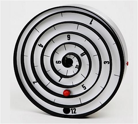 ↑ アスパイラルクロック(Aspiral clock)。赤い玉の部分が時刻を表す。これは4時45分くらい?