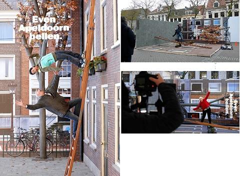 ↑ はしごから落ちそう! ……なシーン。実は90度横倒しにしてるので、安心して撮影が可能