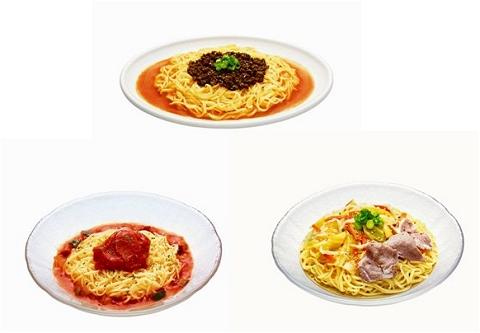 ↑ 「冷やし豆乳担々麺」(上)、「氷冷(ひょうれい)トマト麺」(左下)、「冷しゃぶ豚野菜つけ麺」(右下)