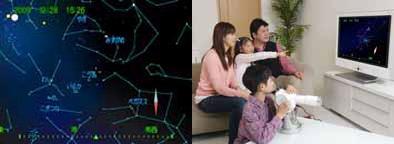 ↑ 液晶画面とテレビ接続中の様子