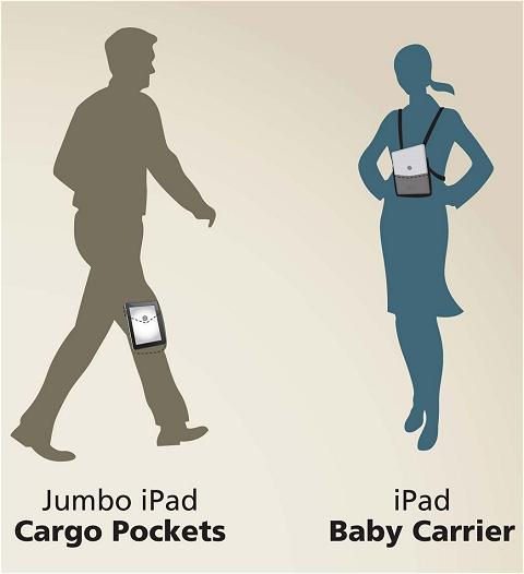 ↑ ズボンのヒザ部分のポケットや子供のベビーキャリアー(おんぶ紐)のようにiPadを持ち運ぶ。