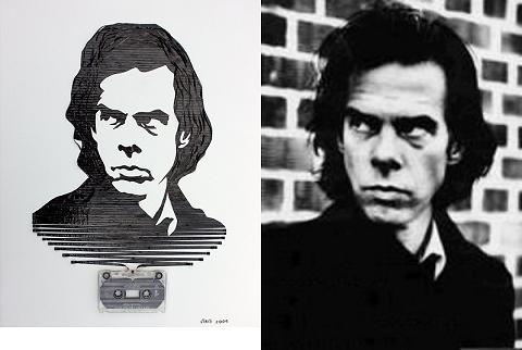 ↑ オーストラリア出身のシンガーソングライター、ニック・ケイヴ氏の肖像画と、その元絵となったと思われる写真