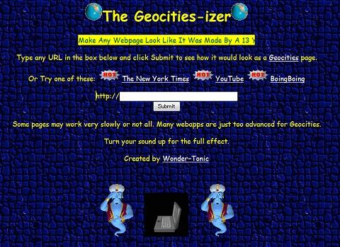 ↑ The Geocities-izer。ウィンドウ部分にURLを入れて「Submit」ボタンを押すだけ