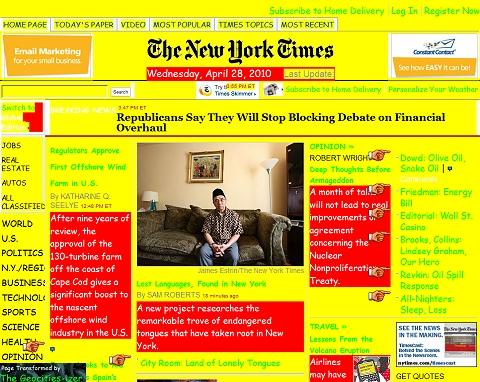 ↑ 拡張高いニューヨークタイムズ紙もこんな感じに。えーと……なんだろう、このおチープ感は