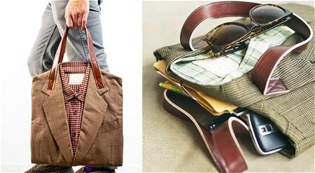 ↑ 男性用スーツをリサイクルしたトートバッグ。Joe - Recycled Suit Tote