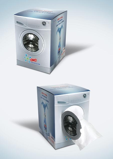 ↑ 洗濯機の形をしたティッシュ入れ