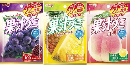 ↑ 増量モードの「果汁グミグレープ」「果汁グミゴールデンパイン」「果汁グミ白桃」