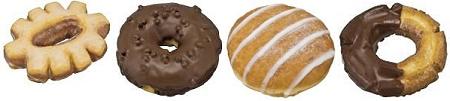 ↑ 左から「スイートリングドーナツ」「ミルクチョコリングドーナツ(ホイップクリーム)」「ふんわりホイップクリームドーナツ」「オールドファッションドーナツ(チョコ)」