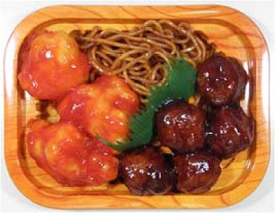 ↑ 鶏チリソース&肉団子