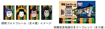 ↑ 歌舞伎豆知識付きリーフレットと隈取フォトフレーム