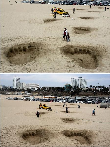 ↑ 海岸に点々と続く巨大な足跡、そしてその延長線沿いにある、踏みつぶされた自動車……