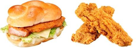 ↑ レギュラーアイテムの「チキンバーガー ソルト&レモン」(左)と「ジューシーチキンセレクト」(右)