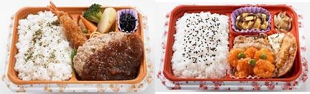 ↑ お弁当一例。上は和食:紅鮭塩焼き、下は左が洋食:ハンバーグ、右が中華:エビチリ