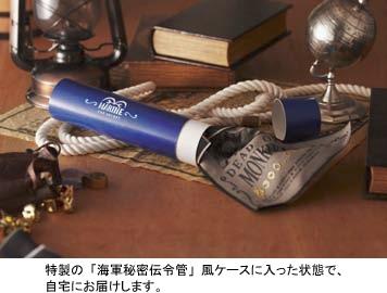↑ 特製の「海軍秘密伝令管」風ケースに入った状態で届けられる。