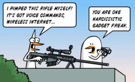 ↑ 「この狙撃銃凄いだろ、音声で指示を与えてくれるしワイヤレスインターネット機能もついてるんだぜ」「またこんなマニアなものを……」