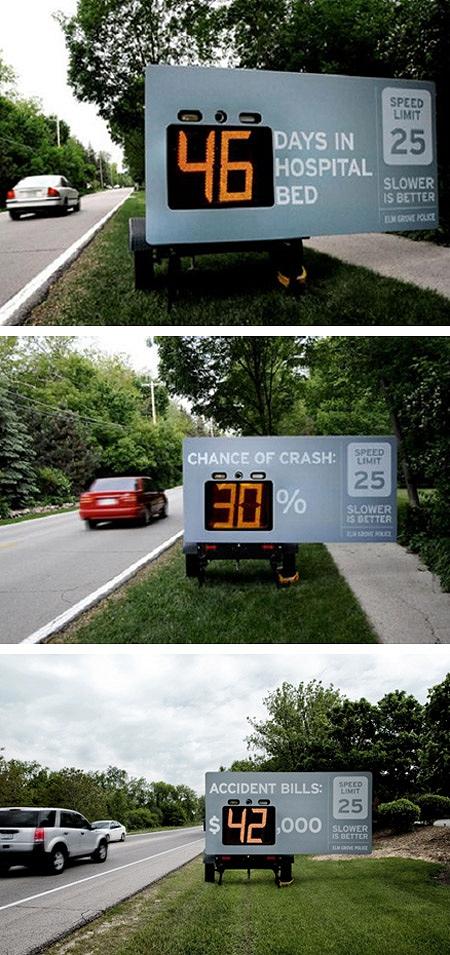 ↑ 制限速度を超したスピードで看板の横を通り抜けると……上から「入院日数」「事故リスク率」「事故った時の被害総額」