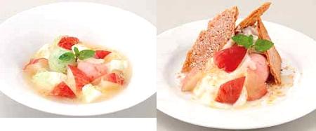 ↑ 「フレッシュ桃とミルクプリンのスープ仕立て」(左)と「桃のミルフィーユパイ」(右)。いずれも「放課後ティータイム」メンバーおススメの設定。