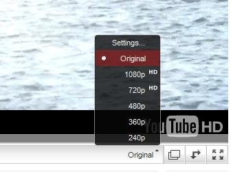 ↑ 進行バー右側にある動画品質選択のメニューで「Original」を選ぶ。画像右下のロゴが「YouTube HD」になるのが確認できる