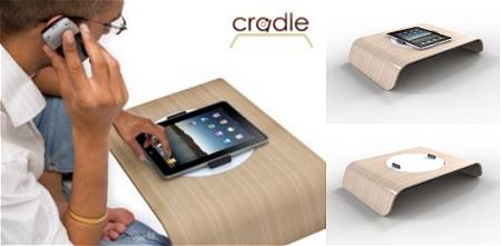 ↑ 回転皿付きの小型テーブル「Cradle」