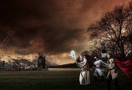 ↑ 攻城器を先頭に進軍する軍勢に立ち向かおうとする魔法使いや騎士たち。でもその目線は……?