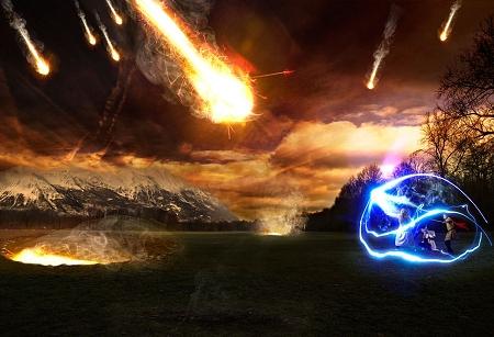 ↑ 降りかかる巨大な炎の玉