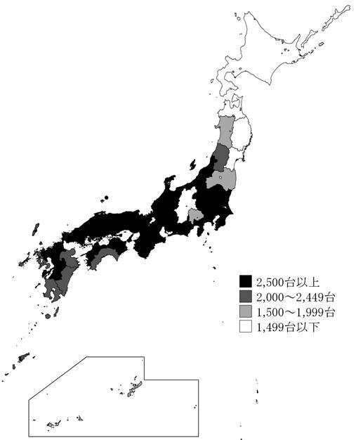 ↑ 都道府県別・1000世帯あたりのルームエアコン所有台数