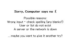 ↑ ロックアカウントを表示させようとしたところ「スペルミスかユーザーがいないかサーバーが落ちてるかもよ」とのエラーメッセージ
