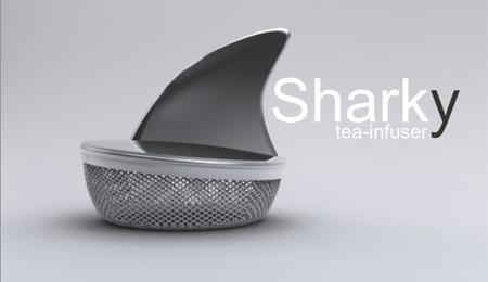 ↑ サメの背びれのようなものが付いた茶網