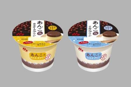 ↑ 「あんこ&カスタードプリン」(左)と「あんこ&ミルクプリン」(右)