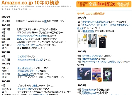 ↑ Amazon.co.jpの10年の軌跡