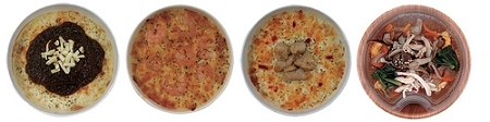 ↑ 左から「チーズハンバーグドリア」「海老とペンネのクリーミーグラタン」「チキンドリア」「鶏ときのこの雑炊」
