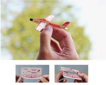 ↑ バルサで出来た名刺。組み立てると小型グライダーの模型が完成する……のだが